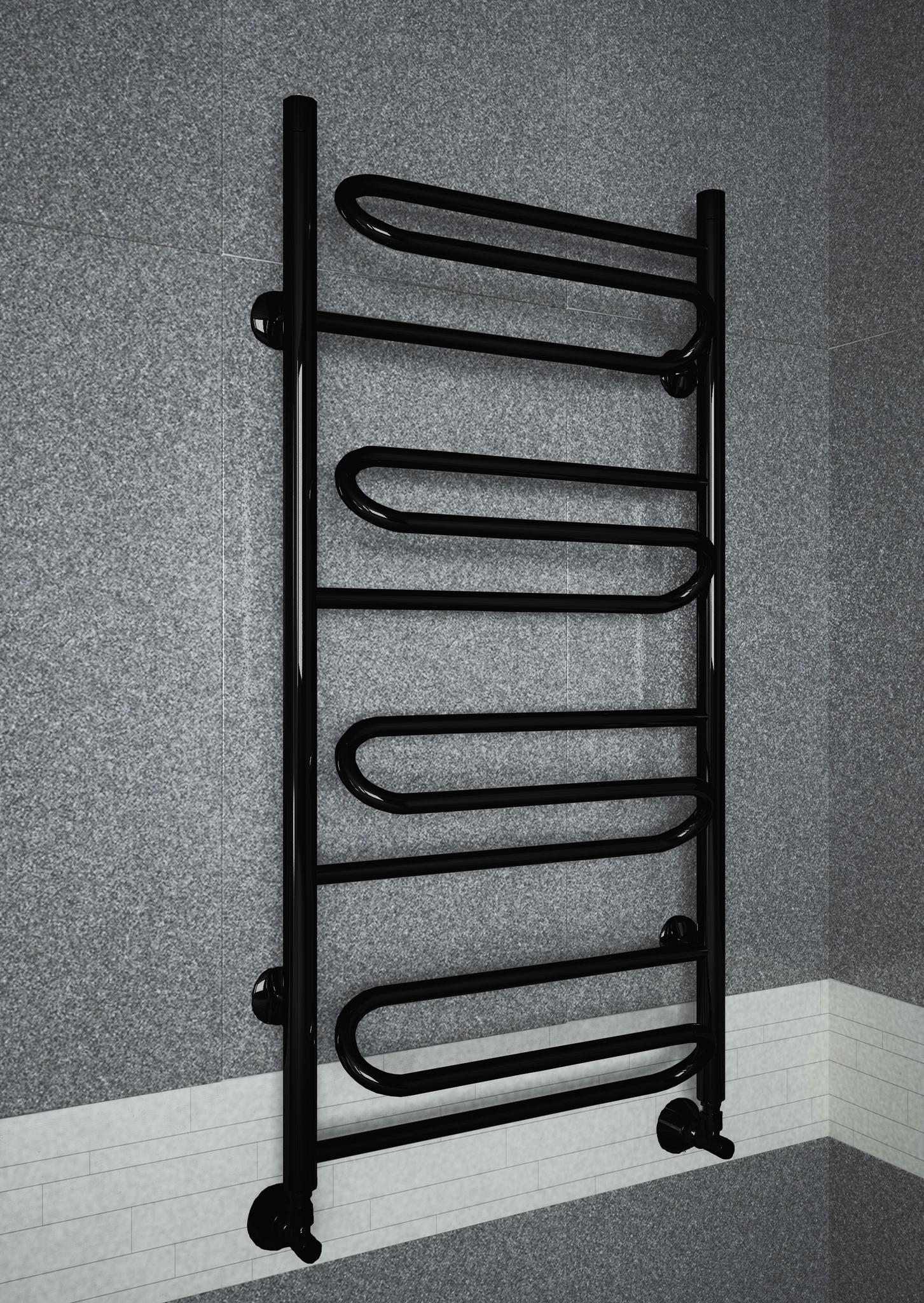 Upiter Black - черный полотенцесушитель с увеличенным пространством для сушки.