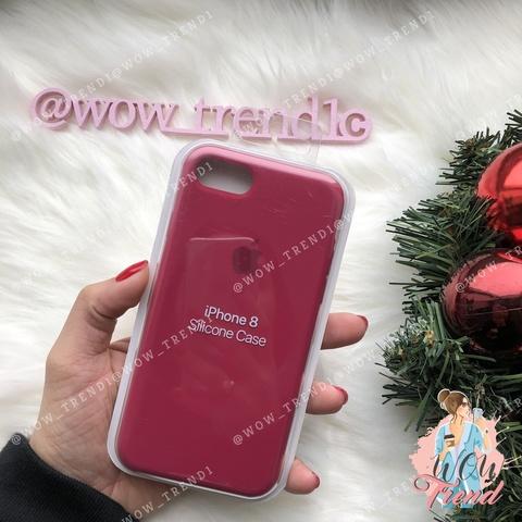 Чехол iPhone 7/8 Silicone Case /rose red/ малиновый original quality