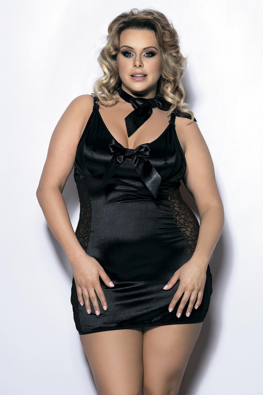 Эротическая черная сорочка большого размера и бант на шею (Ночные сорочки большого размера)