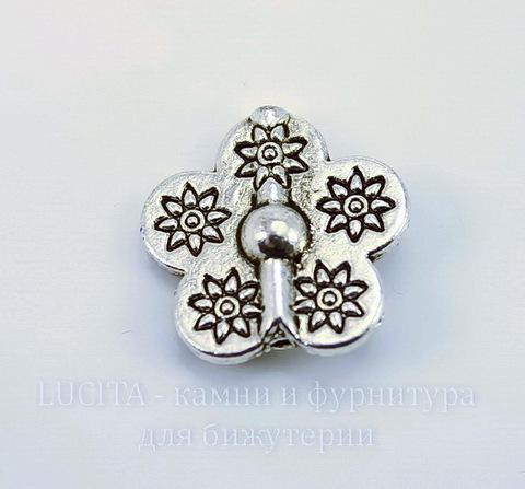 "Бусина металлическая ""Цветок"" 15х15х5 мм (цвет - античное серебро)"