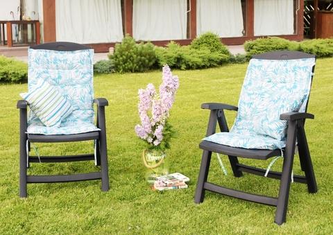 Подушка на стул со спинкой Пальма голубой уличная коллекция