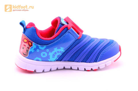 Светящиеся кроссовки для мальчиков Фиксики на липучках, цвет Синий, мигает пряжка на липучке, 5916D. Изображение 4 из 18.