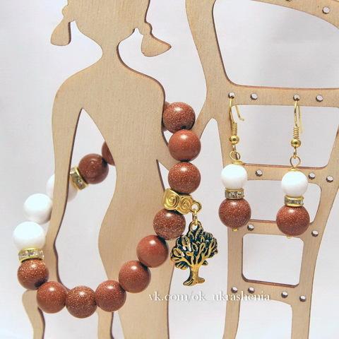 Бусина Авантюрин (искусств), шарик, цвет - коричневый, 10 мм, нить (пример. Браслет с натуральными камнями.)