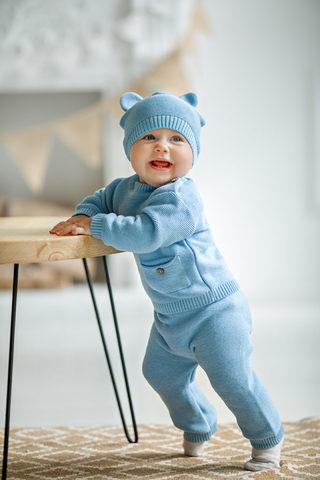 Лапушка. Комплект детский с шапочкой, голубой