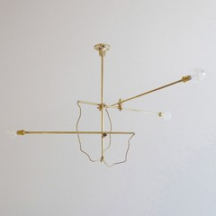 Workstead Industrial Multi Arm Chandelier - Gold Brass