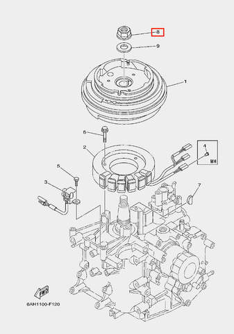 Гайка ротора для лодочного мотора F20 Sea-PRO (11-8)