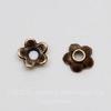"""Шапочка для бусины """"Маленький цветочек"""" 6х2 мм (цвет - античная медь), 10 штук"""