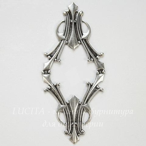Винтажный декоративный элемент - рамка 62х28 мм (оксид серебра)