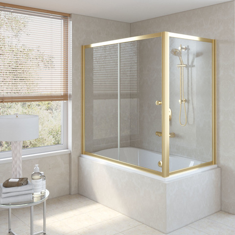 Шторка на ванну Vegas Glass ZV+ZVF профиль золото, стекло прозрачное