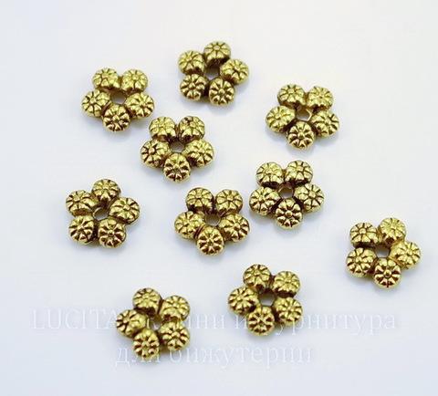 """Бусина металлическая - спейсер """"Цветы"""" 7 мм (цвет - античное золото), 10 штук"""