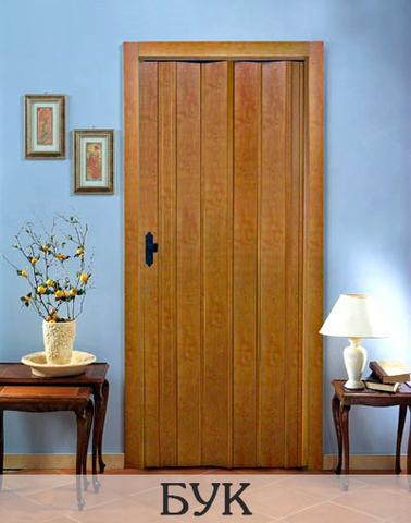 Дверь гармошка с шарниром ПВХ, без витражей. Бук.