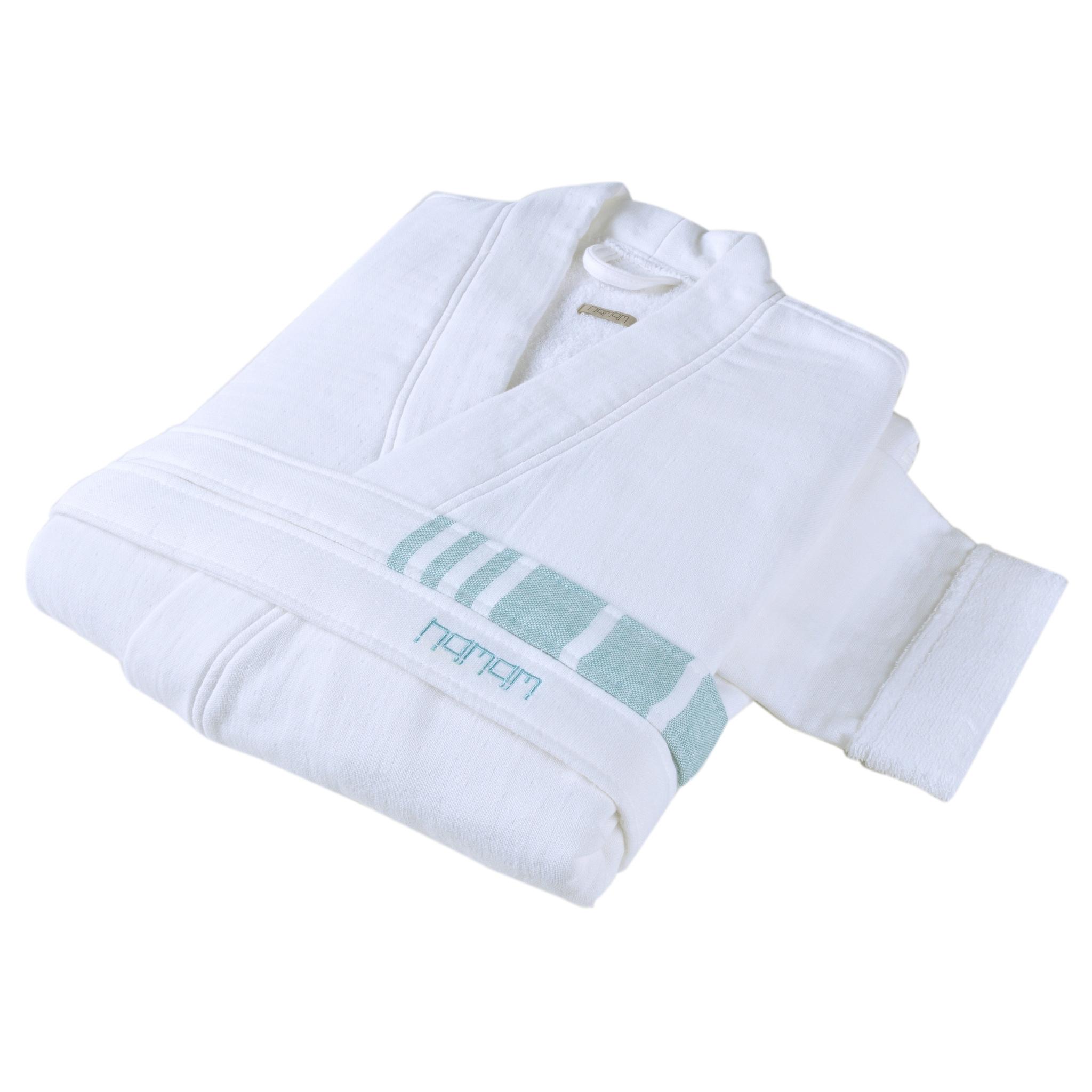 Элитный халат хлопковый Marine Striped белый с голубым от Hamam