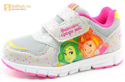 Светящиеся кроссовки для девочек Фиксики на липучках, цвет серый, мигает картинка сбоку. Изображение 1 из 15.