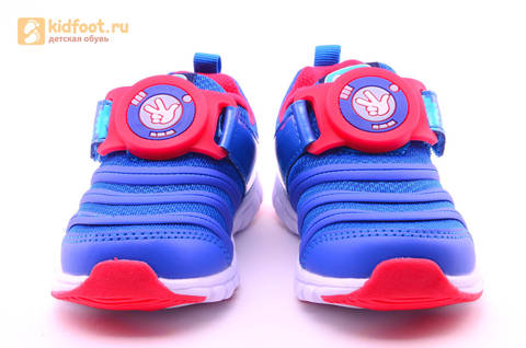Светящиеся кроссовки для мальчиков Фиксики на липучках, цвет Синий, мигает пряжка на липучке, 5916D. Изображение 5 из 18.