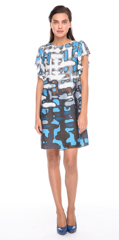 Платье З191-738 - Отличное платье, свободного кроя выглядит невероятно удобным. В плечевые швы вшиты широкие воланы. Просторное платье практически не ощущается на теле.