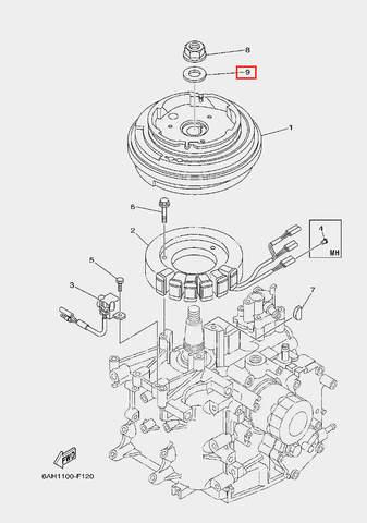 Шайба ротора для лодочного мотора F20 Sea-PRO (11-9)