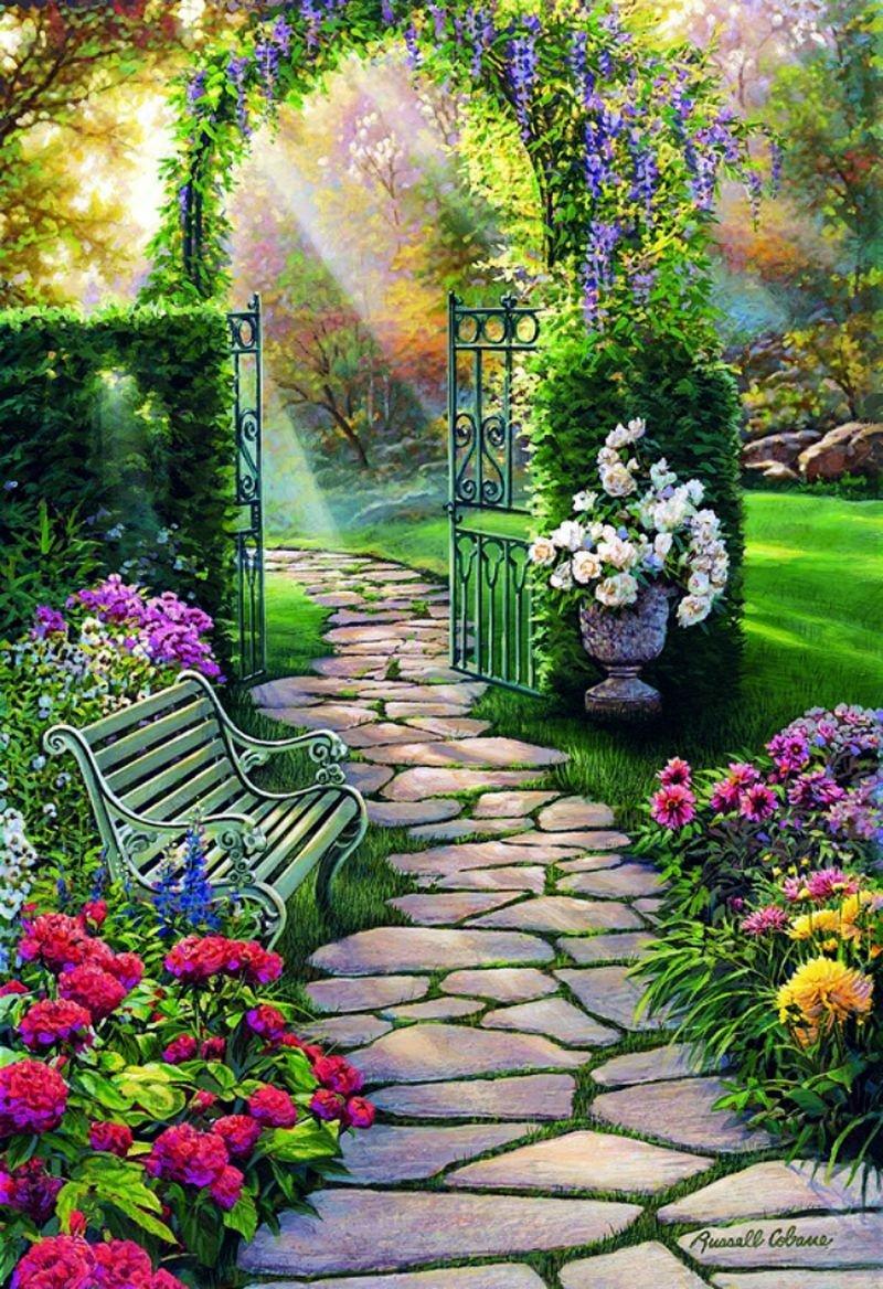 Картина раскраска по номерам 50x65 Лавочка в саду– купить ...