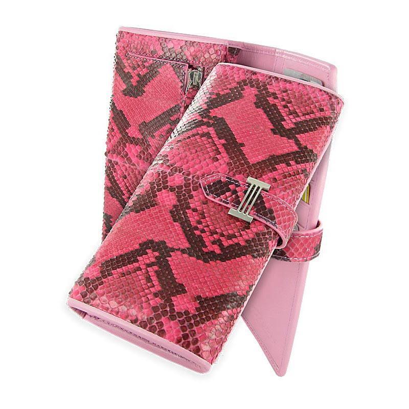 Портмоне розовое из кожи питона WP-042