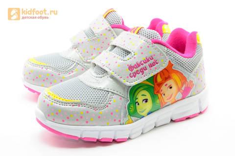 Светящиеся кроссовки для девочек Фиксики на липучках, цвет серый, мигает картинка сбоку. Изображение 6 из 15.