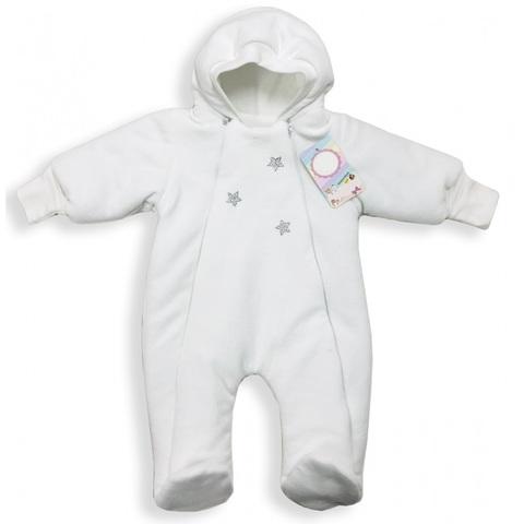 Велюровый утепленный комбинезон для новорожденного Little Stars белый