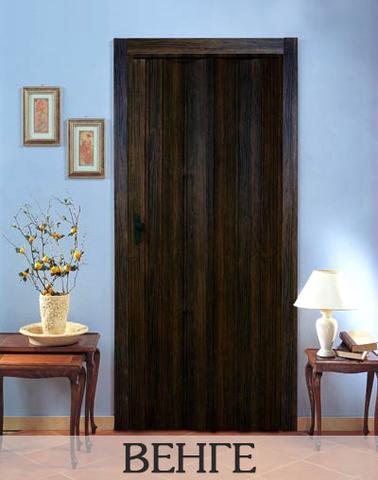 Дверь гармошка с шарниром ПВХ, без витражей. Венге.