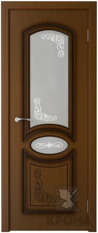 Дверь Крона Муза, стекло матовое с рисунком, цвет орех, остекленная