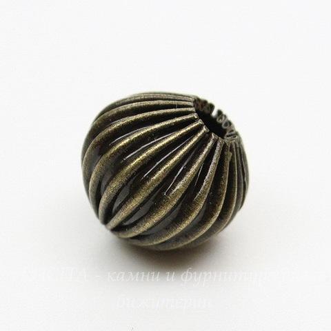 Бусина металлическая гофрированная 10 мм (цвет - античная бронза), 5 штук