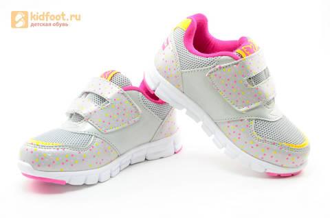 Светящиеся кроссовки для девочек Фиксики на липучках, цвет серый, мигает картинка сбоку. Изображение 8 из 15.