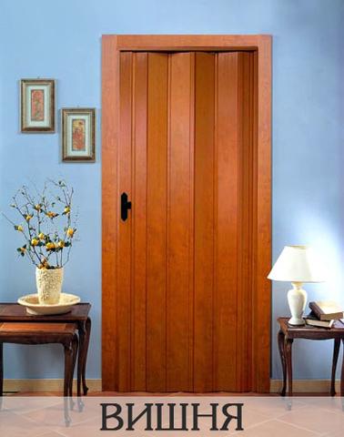 Дверь гармошка с шарниром ПВХ, без витражей. Вишня.