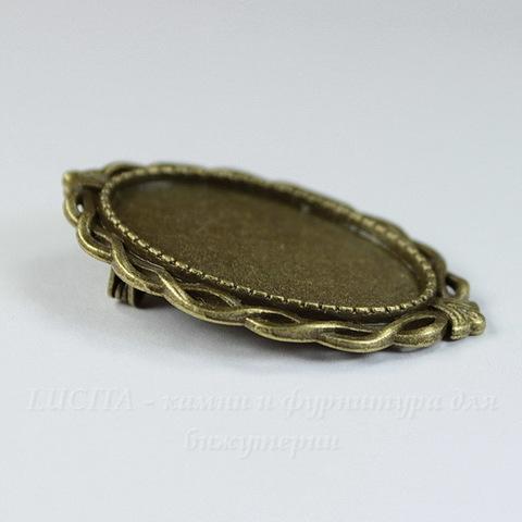 Основа для броши с сеттингом для кабошона 30х20 мм, 42х29 мм (цвет - античная бронза)