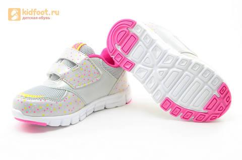 Светящиеся кроссовки для девочек Фиксики на липучках, цвет серый, мигает картинка сбоку. Изображение 9 из 15.