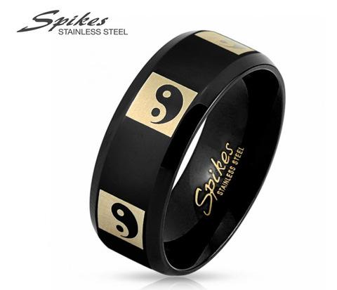 Мужское кольцо «Инь и Янь» черного цвета из стали. «Spikes»