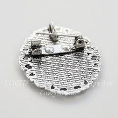 Основа для броши с сеттингом для кабошона 25х18 мм