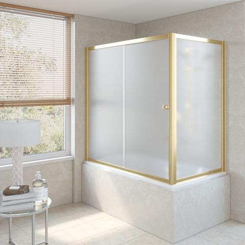 Шторка на ванну Vegas Glass ZV+ZVF профиль золото, стекло сатин