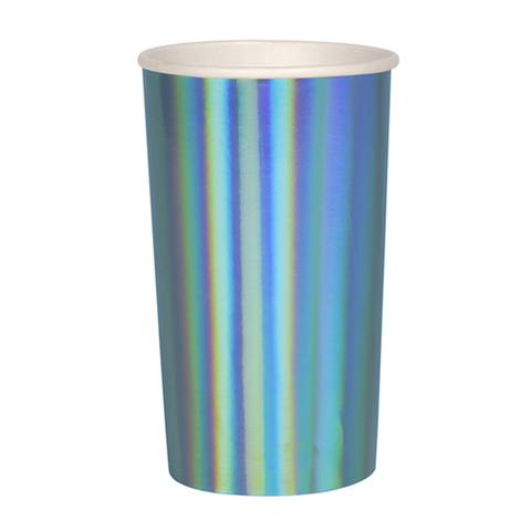 Большие синие голографические стаканы для коктейлей
