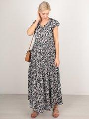 Евромама. Платье штапельное леопардовое для беременных и кормящих, серый