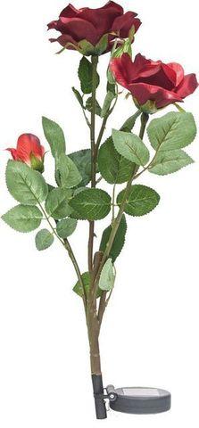 Светильник садово-парковый на солнечной батарее «Ветка розы», красный, 3 LED (белый), H 80cм , PL308 (Feron)