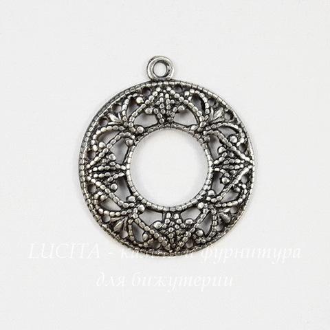 Винтажный декоративный элемент - подвеска филигранная 20х17 (оксид серебра)