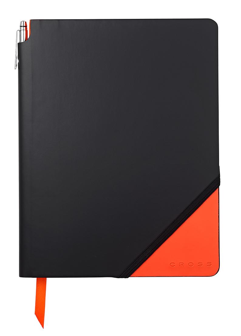 Записная книжка Cross Jot Zone , A4, 160 страниц в линейку, ручка в комплекте. Цвет - черно-ора