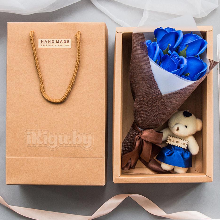 """Подарки на 8 марта Ароматизированное мыло """"Мишка С Букетом Роз"""" мишка_синий.jpg"""