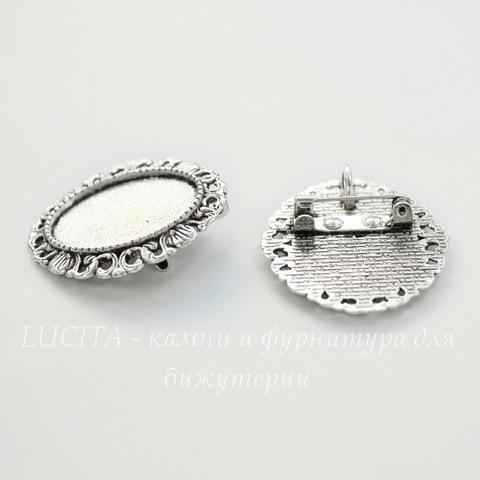 """Основа для броши с сеттингом для кабошона 25х18 мм """"Шелли"""" (цвет - античное серебро)"""