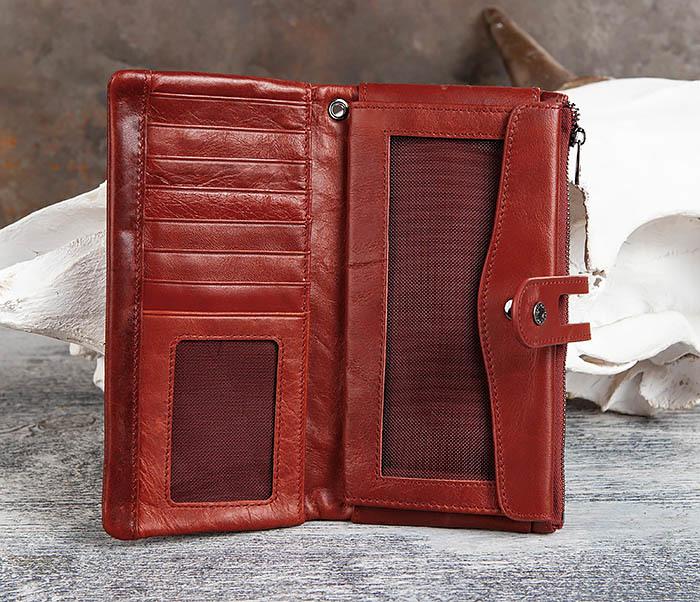 WL299-3 Мужской клатч из красной мятой кожи фото 06
