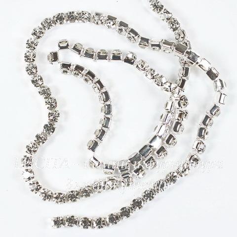 Стразовая лента 4 мм, прозрачная (цвет - серебро), 10 см