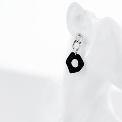 Серьги с цепью и чёрным элементом  оптом и в розницу