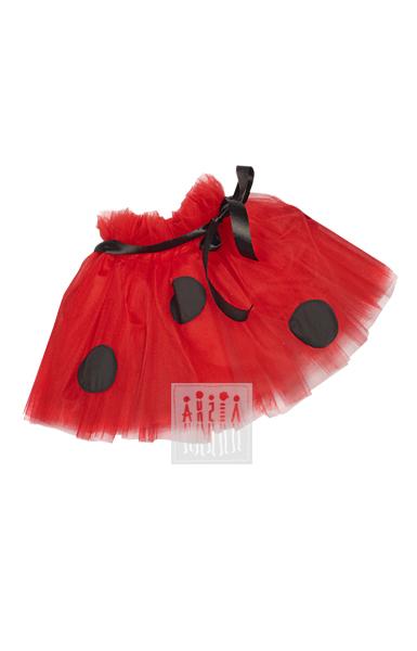 Юбка Божья коровка, представляет из себя юбку пачку, изготовленную из четырех слоев красной сетки и украшено крупными черными кругами, похожими на пятнышки на крыльях божьих коровок.