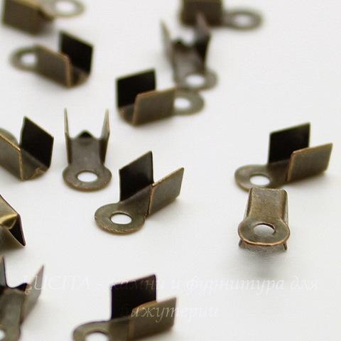 Концевик для шнура 3 мм (цвет - античная бронза) 9х3 мм, 20 штук