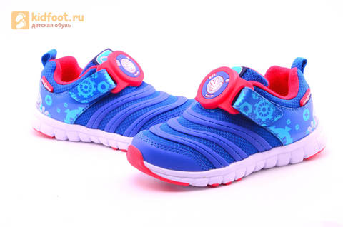 Светящиеся кроссовки для мальчиков Фиксики на липучках, цвет Синий, мигает пряжка на липучке, 5916D. Изображение 13 из 18.