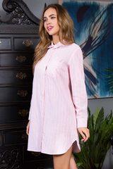 Женская домашняя рубашка в полоску Cindy розовая