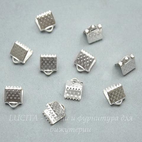 Концевик для лент 6 мм (цвет - серебро), 10 штук