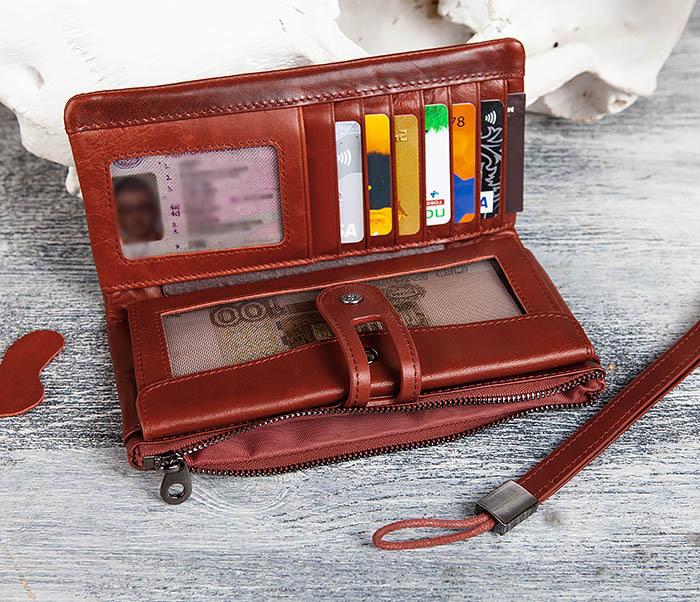 WL299-3 Мужской клатч из красной мятой кожи фото 09
